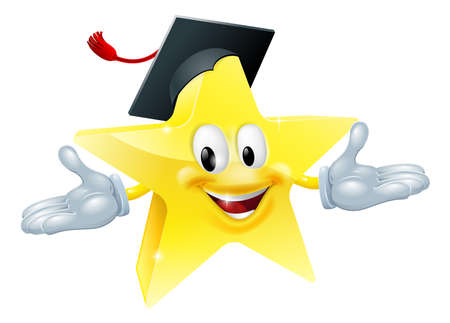 mortar board: Star man wearing a mortarboard, education concept Illustration