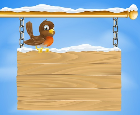 A loveable Christmas robin bird on wooden sign on a cold December winter day Stock Vector - 15262057