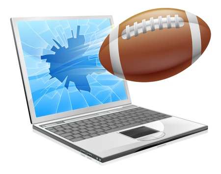 broken screen: Illustration of a football ball flying out of a broken laptop computer screen