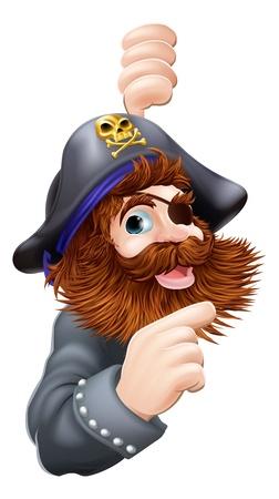 marinero: Una historieta gr�fica de un pirata con calavera y huesos Sombrero cruzado se�alando un mensaje