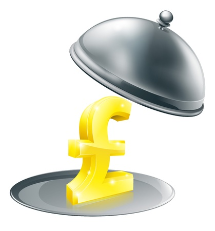 A Pound sign on silver platter. Conceptual illustration for money making opportunity or perhaps to do with expensive dinning Stock Vector - 15262059