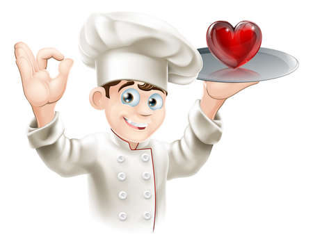 chef cooking: Illustration of a chef holding a heart on a tray, concept for loving food or cooking or putting your heart into cooking