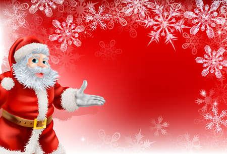 pere noel: Un rouge de Santa de Noël flocon de neige fond avec une illustration très détaillée du Père Noël Illustration
