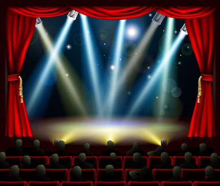 rideau sc�ne: Audience en sc�ne silhouette regardant � l'�tage la lumi�re des projecteurs spectacle Illustration