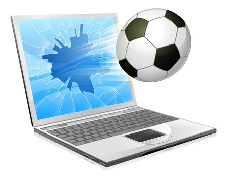 sports app: Illustration of a soccer ball or football flying out of a broken laptop computer screen
