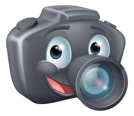 photo camera: Illustration of a cute happy DSLR camera mascot character with a big smile Illustration