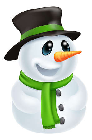 the snowman: Happy cute cartoon Christmas Snowman character with hat and green scarf Illustration