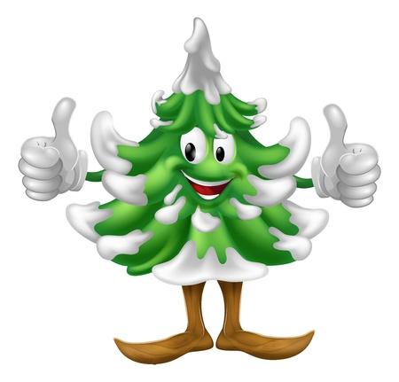 spar: Een gelukkig kerstboom cartoon mascotte het geven van een thumbs up