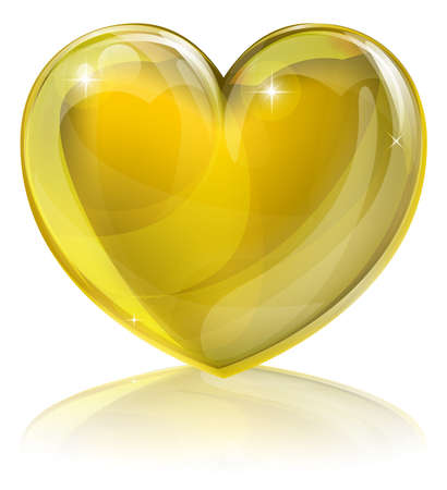 "glass heart: A golden heart concept. Could be for a ""heart of gold"", i.e. kind or loving or an award for good service or similar. Illustration"