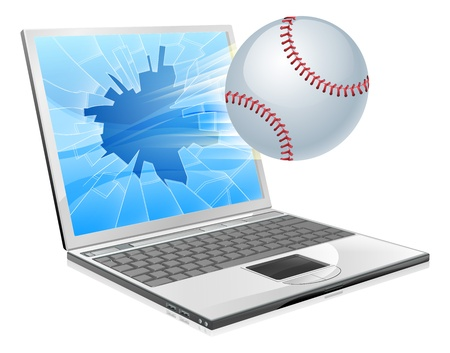 sports application: Illustration of a baseball ball flying out of a broken laptop computer screen