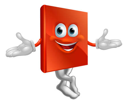 Cartoon book mascot man with a big grin and crossed legs Vector