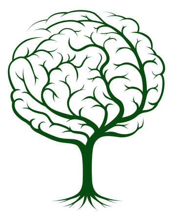 brain: Brain tree illustration, tree of knowledge, medical, environmental or psychological concept