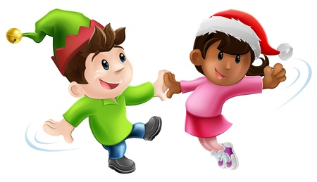 Illustration of two young people in Christmas costume having a dance together