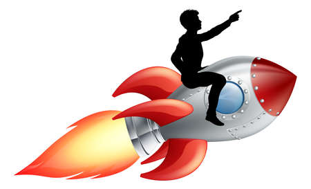 A businessman seated riding a rocket. Concept for innovation, success or breaking new ground in business. Vector