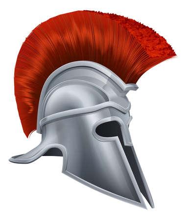 casco rojo: Ilustraci�n de un casco de bronce de Troya, casco Spartan, romano casco o yelmo griego. Estilo corintio.