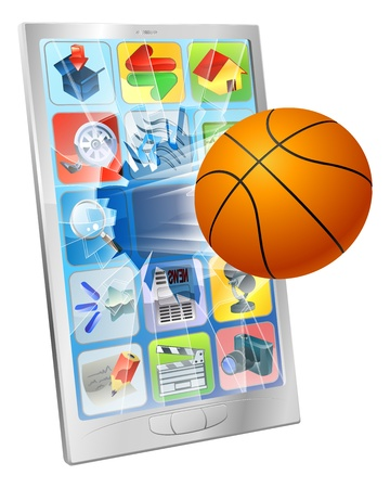 Illustration of a basketball ball flying out of mobile phone screen Vector