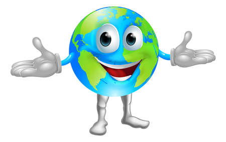 Illustration of a happy world globe character standing with hands out Stock Vector - 15345738