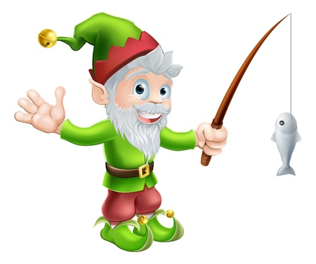 garden gnome: Illustration of a cute happy waving garden gnome elf character or mascot with a fishing rod