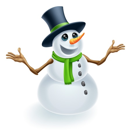 snow cap: Fun cute Christmas Snowman smiling and wearing a top hat
