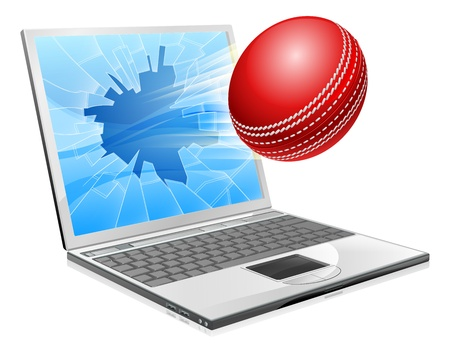 criket: Illustration of a cricket ball flying out of a broken laptop computer screen