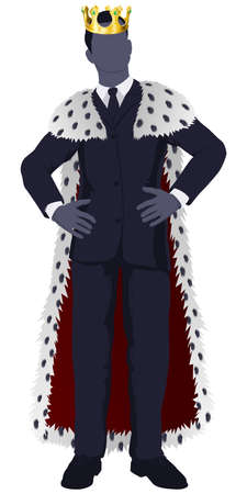 Illustration of a business man king in business suit with royal cape and crown.  Vector