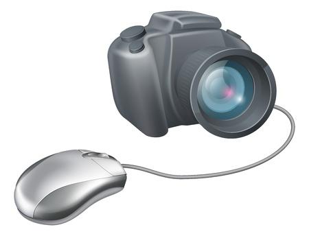 uploading: Camera del mouse concept computer, un mouse del computer collegato a una macchina fotografica. Concetto per il caricamento delle immagini o di navigazione per le immagini su un computer o qualsiasi altra IT e il tema dell'immagine. Vettoriali