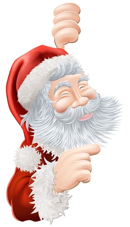Illustration of happy Christmas Santa Claus peeping round and pointing