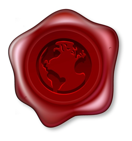 royal mail: A red sealing wax seal with a world globe motif embossed on it