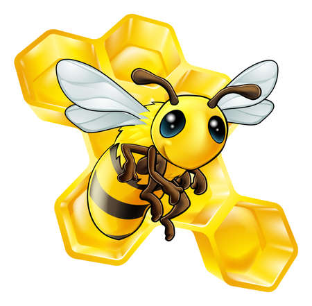 Una ilustración de una abeja sonriente de la historieta con el panal