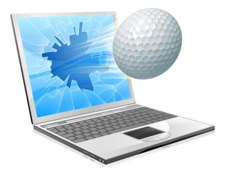sports application: Illustration of a golf ball flying out of a broken laptop computer screen