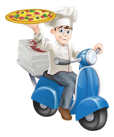 курьер: Нарядная пиццы шеф-повара в его шеф-повар белые доставку пиццы на своем мопеде. Иллюстрация