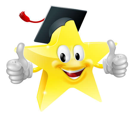 cartoon graduation: Cartoon star mascot with a graduates mortarboard cap on giving a thumbs up
