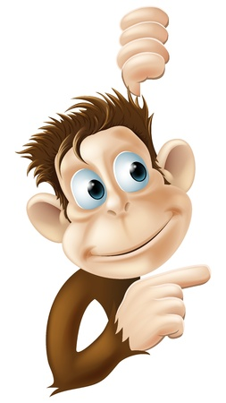 cute cartoon monkey: Illustration of a monkey pointing and looking at something