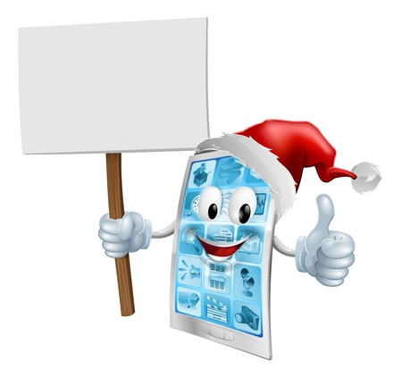santa       hat: A Christmas mobile phone mascot character wearing a Santa hat and holding a sign while giving a thumbs up