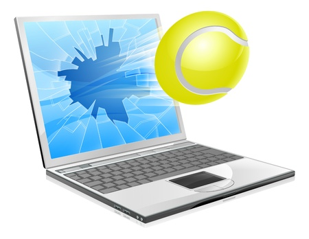 computer graphic design: Illustration of a tennis ball flying out of a broken laptop computer screen