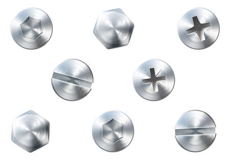 screw heads: A set of metal shiny screws and bolts for use in your designs