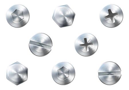 tuercas y tornillos: Un conjunto de tornillos brillantes de metal y tornillos para su uso en sus diseños