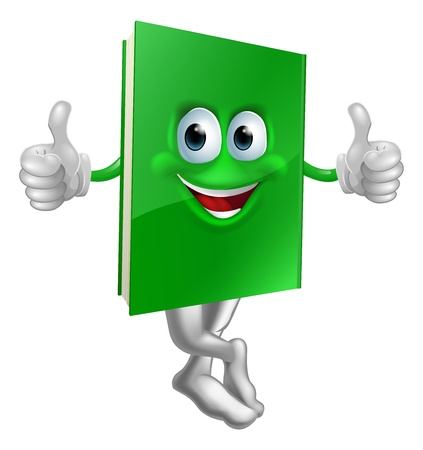 legs up: Illustration of a cute smiling thumbs up green book character Illustration