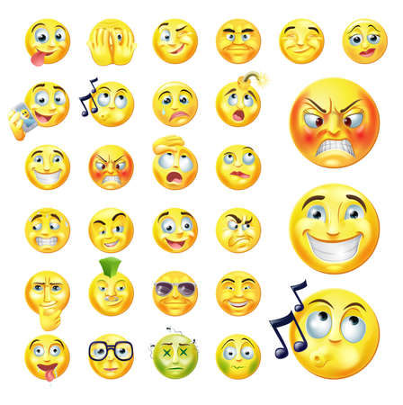 round face: A set of very original emoticon or emoji icons representing lots of reactions, personalities and emotions