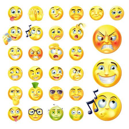 las emociones: Un conjunto de iconos de caritas o emoji muy originales que representan a muchas reacciones, personalidades y emociones Vectores