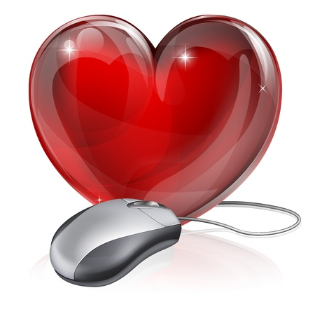 dating: Illustration of a computer mouse connected to a red heart symbol, concept for online dating, romance or similar