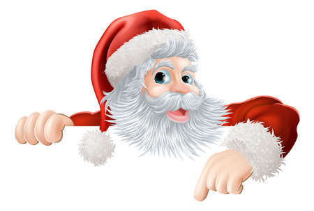 pointing finger pointing: Cartoon illustration of Santa Claus pointing down at Christmas message or sign Illustration