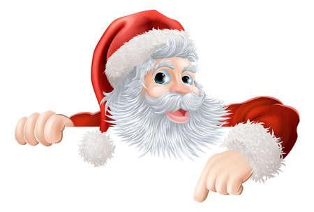 papa noel: Ilustración de dibujos animados de Santa Claus que apunta hacia abajo en el mensaje de Navidad o signo Vectores