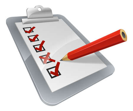 checklist: A clipboard with pencil marking on it. A survey, opinion poll, or inspection document