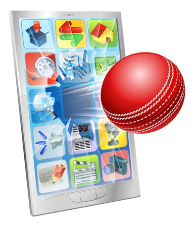 criket: Illustration of an cricket ball flying out of cell phone screen
