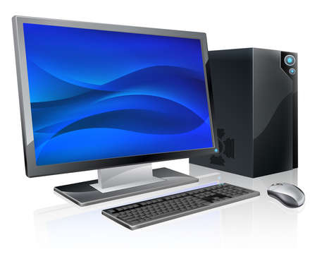 An illustration of desktop PC computer workstation. Monitor, mouse keyboard and tower Vector