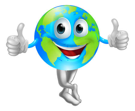 A cartoon globe mascot man with a happy face doing a thumbs up
