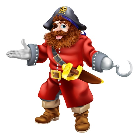 captain: Illustration of a happy smiling pirate with a hook and eye patch and skull and crossed bones on his pirate hat