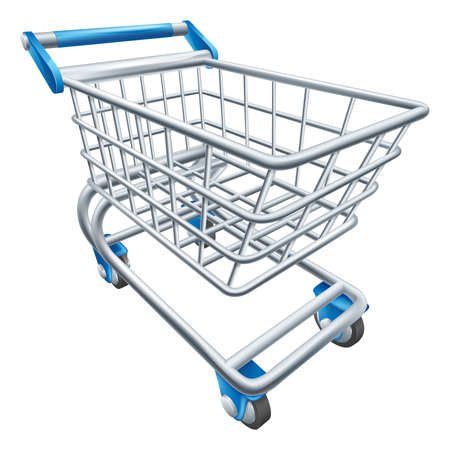 grocery cart: An illustration of a wire supermarket shopping cart trolley or basket