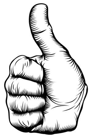 black and white line drawing: Illustration of a hand giving a thumbs up in a woodblock style